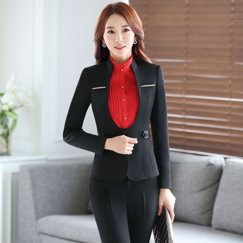 1fad3edd31 Plus Size 4XL Autumn And Winter Formal Pantsuits Professional Uniform  Styles Jackets And Pants Business Office