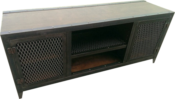 Vintage Media Console This Cabinet Features Removable Doors With Expanded Metal Inserts Push Style Magnetic