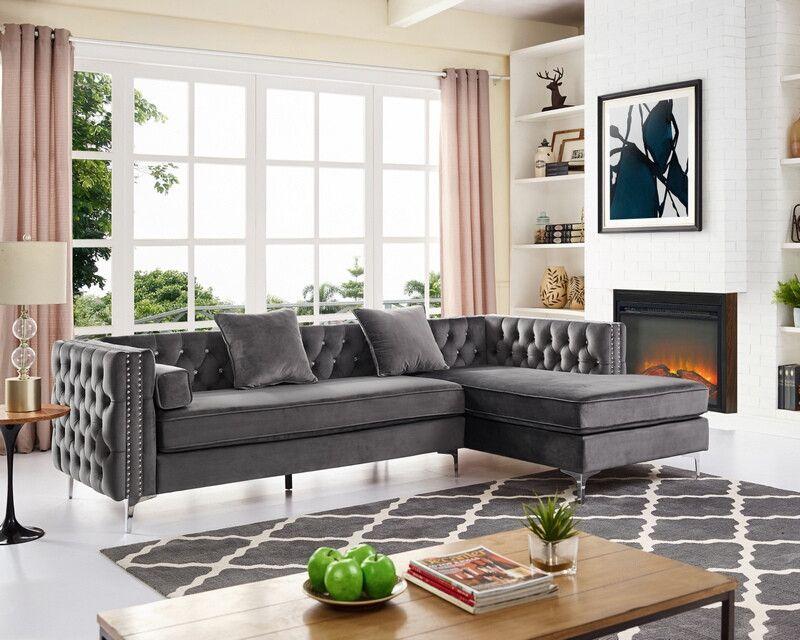 OAH D6166 2 pc Veranda gray velvet like fabric sectional ...