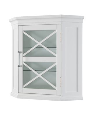 Blue Ridge Corner Wall Cabinet White Elegant Home Fashions Wall Cabinet Wall Mounted Bathroom Cabinets