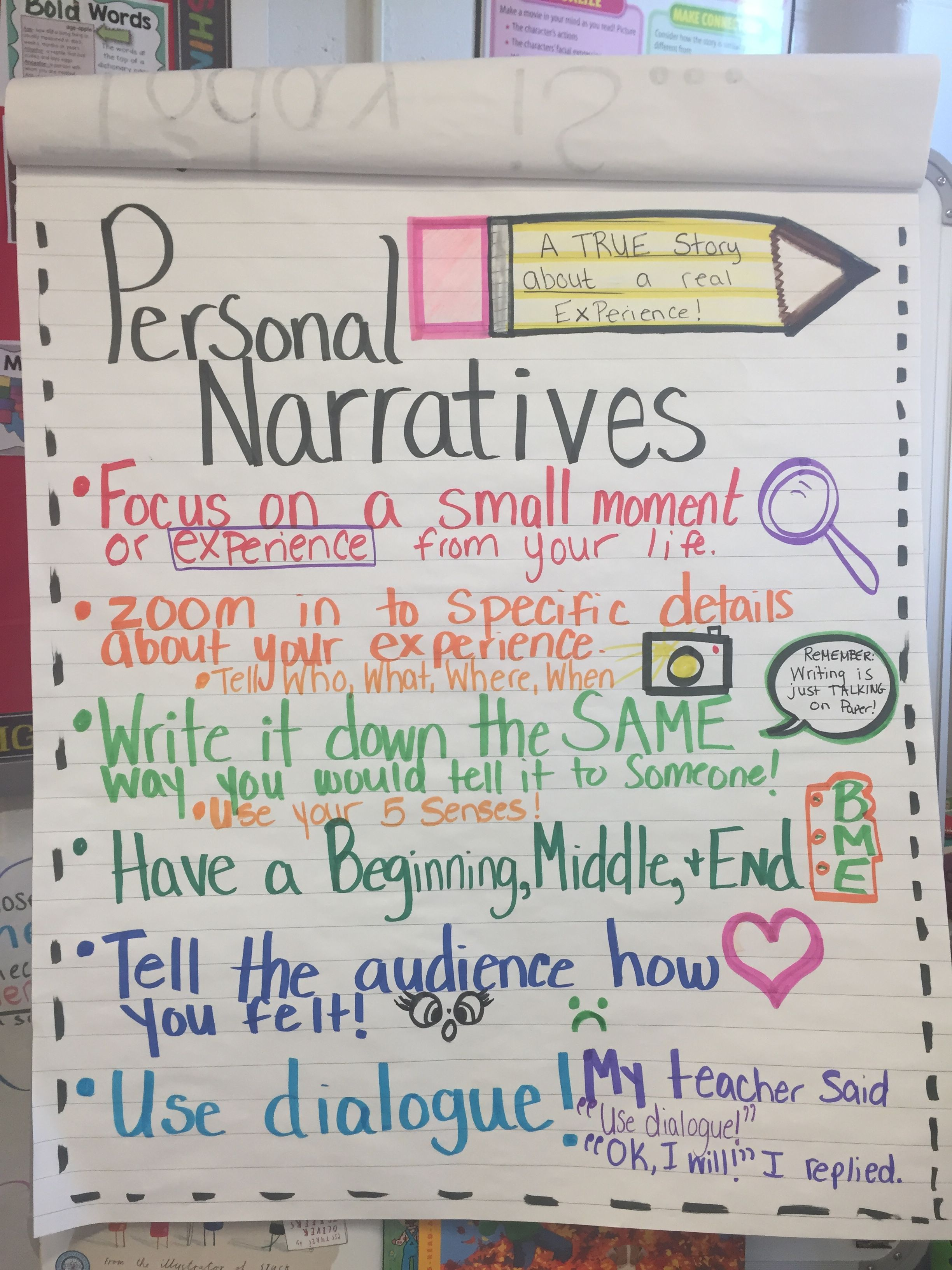 Personal Narrative Check List For Special Ed Middle School You Can Have The Kids Create Their Own Mini Anchor Charts With Pictures To Keep In Their Writers No How to write personal check to someone