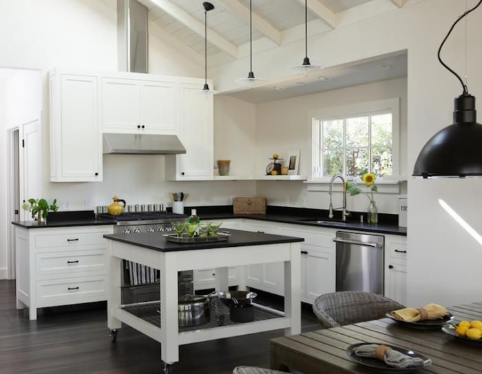 Square Shaped, Black And White Rolling Kitchen Island With Open Storage  Shelf