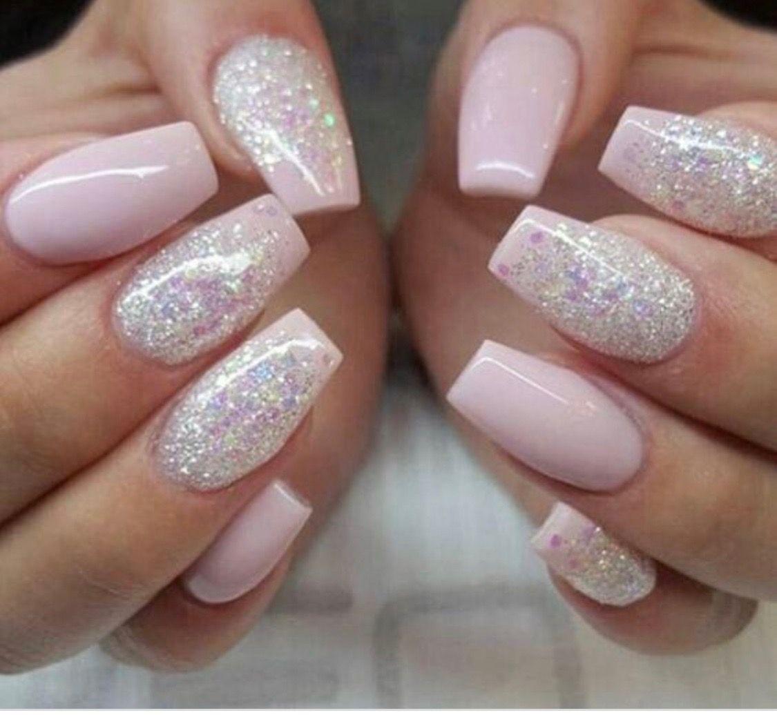 Baby Pink And Glitter Nail Art Unhas Unhas Bonitas Unhas Decoradas