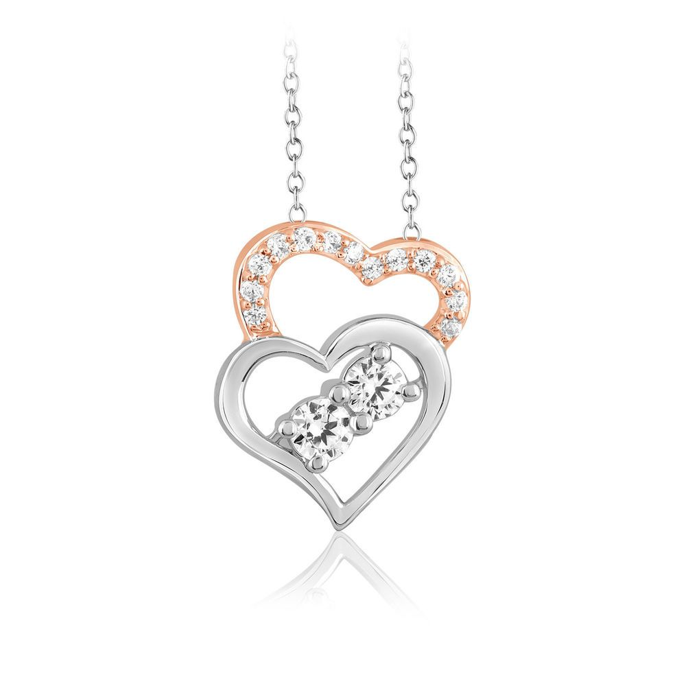 1 4 Ct Real Diamond Forever Us Two Stone Double Heart Pendant 10k Gold Valentine Heart Pendant Diamond Diamond Heart Pendant Necklace Diamond Infinity Necklace