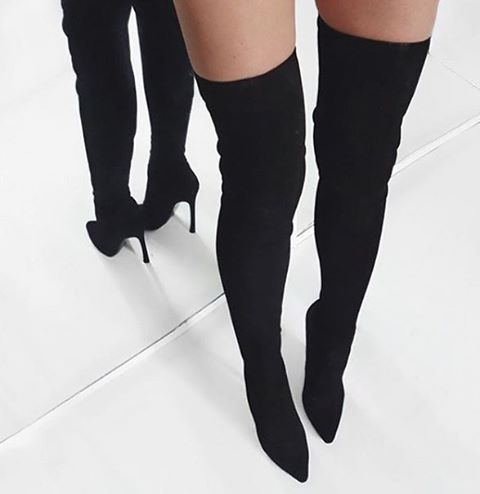 SHOP @_catwalkconnection.com_ for the hottest styles! @_catwalkconnection.com_ @_catwalkconnection.com_ @_catwalkconnection.com_ Get 'JASMIN' Black Suede Leather Boots www.catwalkconnection.com  Use Code: SHOPPCC to receive Free Shipping! Image Credit: #petra____xx