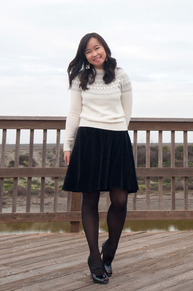 Stylepint winter outfit: fair isle sweater, velvet swing skirt ...