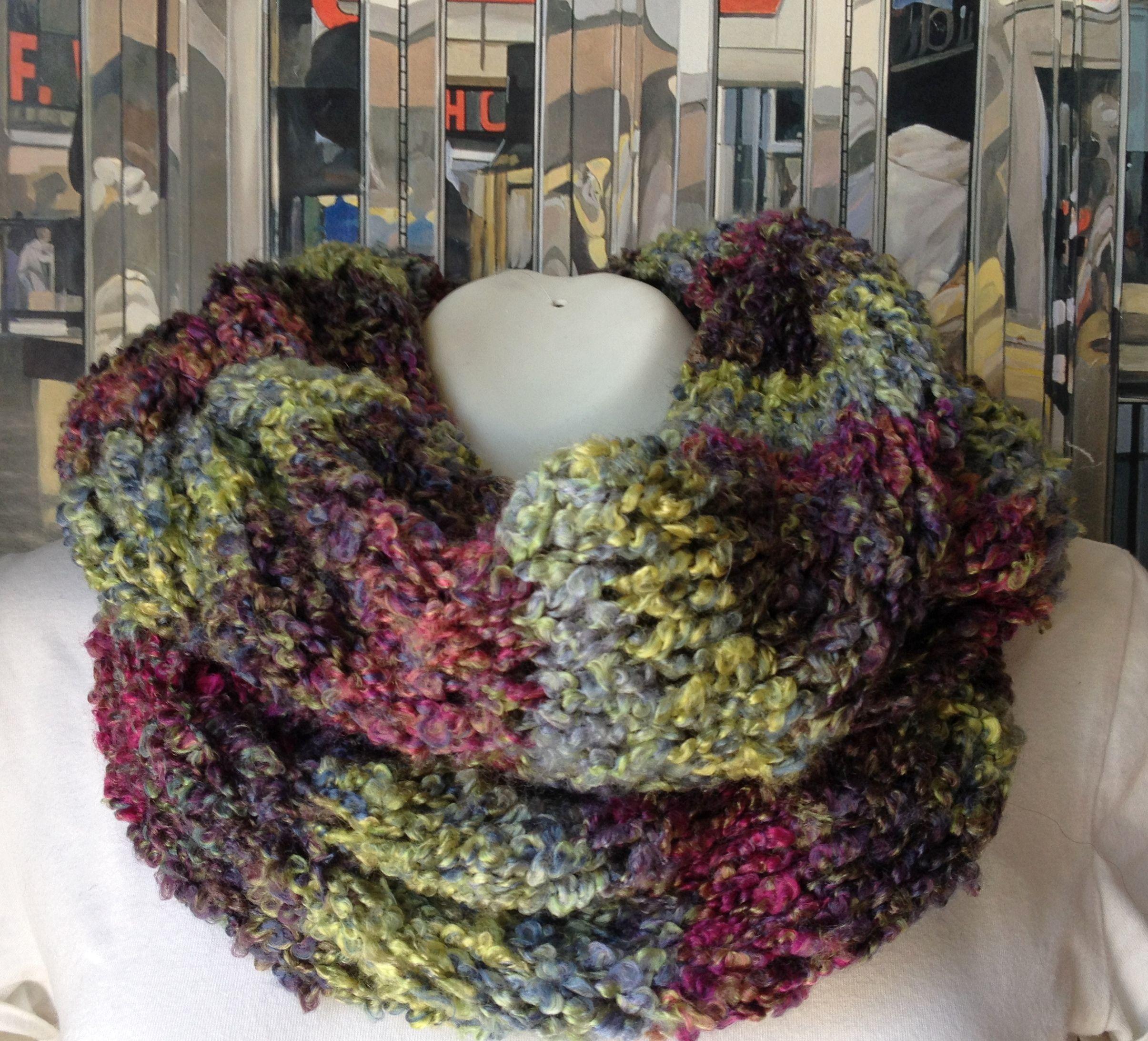 Bufanda infinita tipo collar, tejida con lana argentina multi color ...