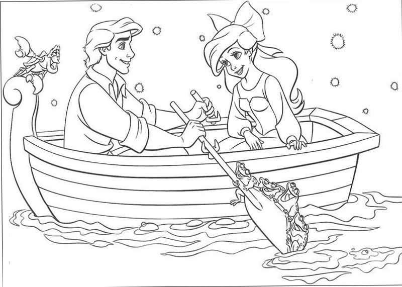 Ariel And Eric In Boat Coloring Pages Mermaid Coloring Pages