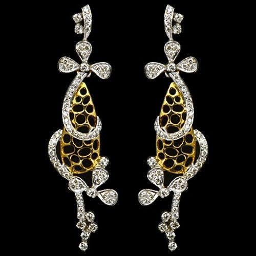 18k Yellow Gold Natural Top 1 28 Carat Diamonds Las Earrings Pair Vtj Ehs