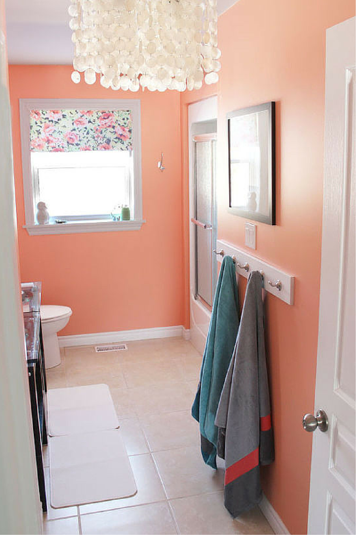 Open Your Doors And Let Those Spring Colors In A Perfect Shade Of Peach Painted On These Ba Bathroom Wall Colors Bathroom Color Schemes Bright Bathroom Colors