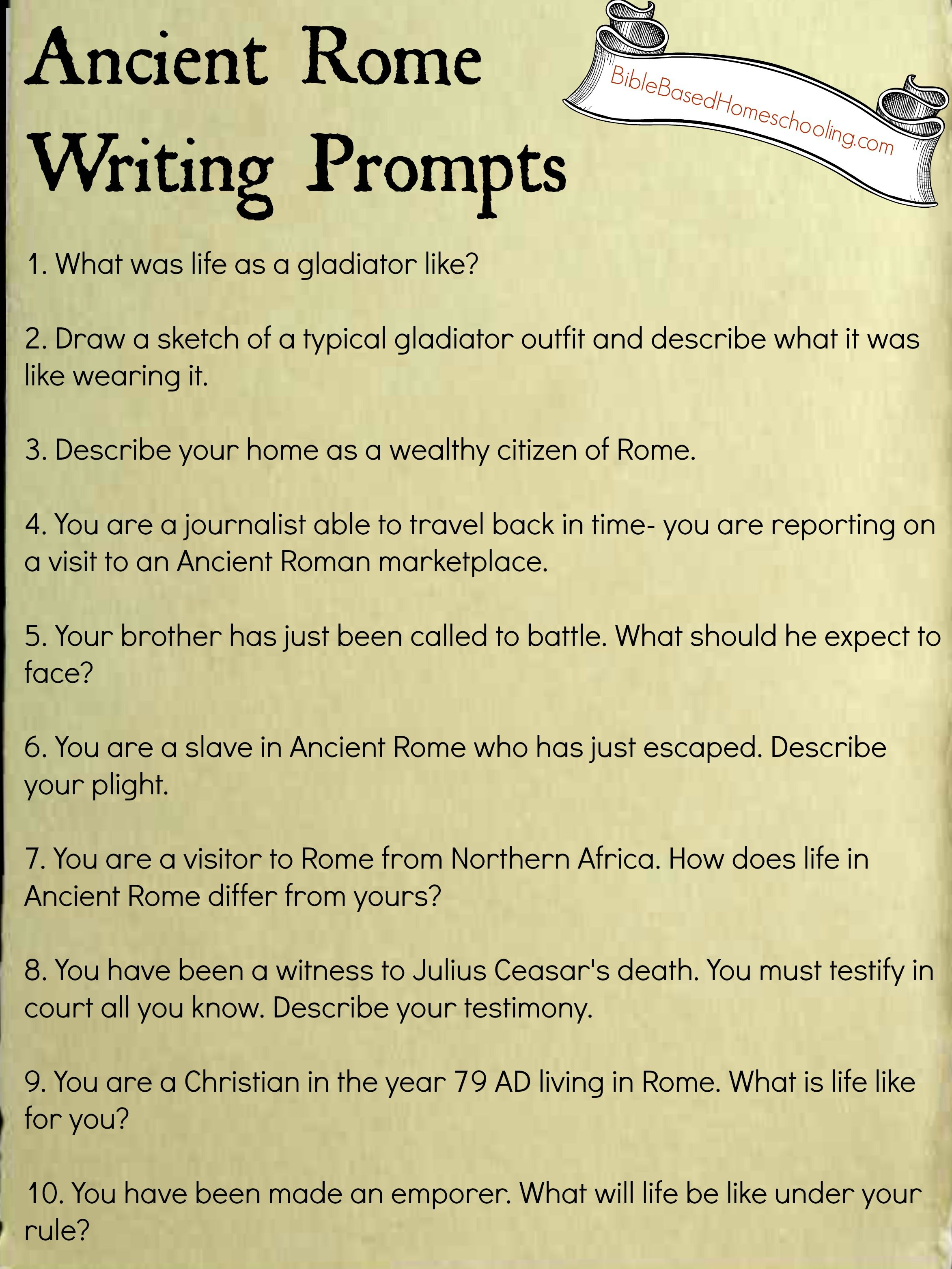 Free Ancient Rome Writing Prompts Printable