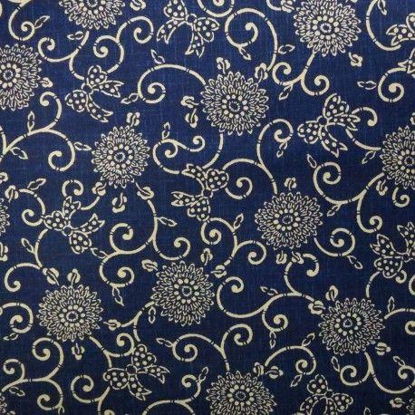 tissu japonais bleu nuit faux uni motif fleurs arabesques et noeuds tissu manga geek. Black Bedroom Furniture Sets. Home Design Ideas