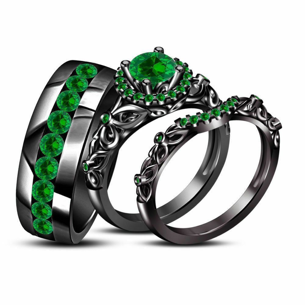 1.50 Ctw Round Green Emerald His /& Her Trio Wedding Ring Set 14k Black Gold Over