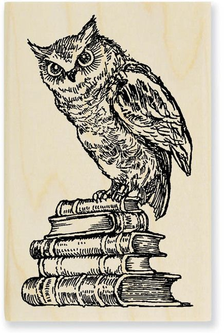 literary owl ~ illustrated stamp / stampendous via 1-2-3 stitch