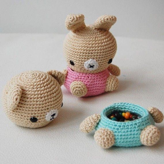 Patrón amigurumi Crochet oso y caja de conejito por pepika en Etsy ...