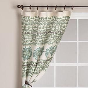 High Quality Jute Ikat Curtain Panel, Aqua   Window Panels   Cost Plus World Market