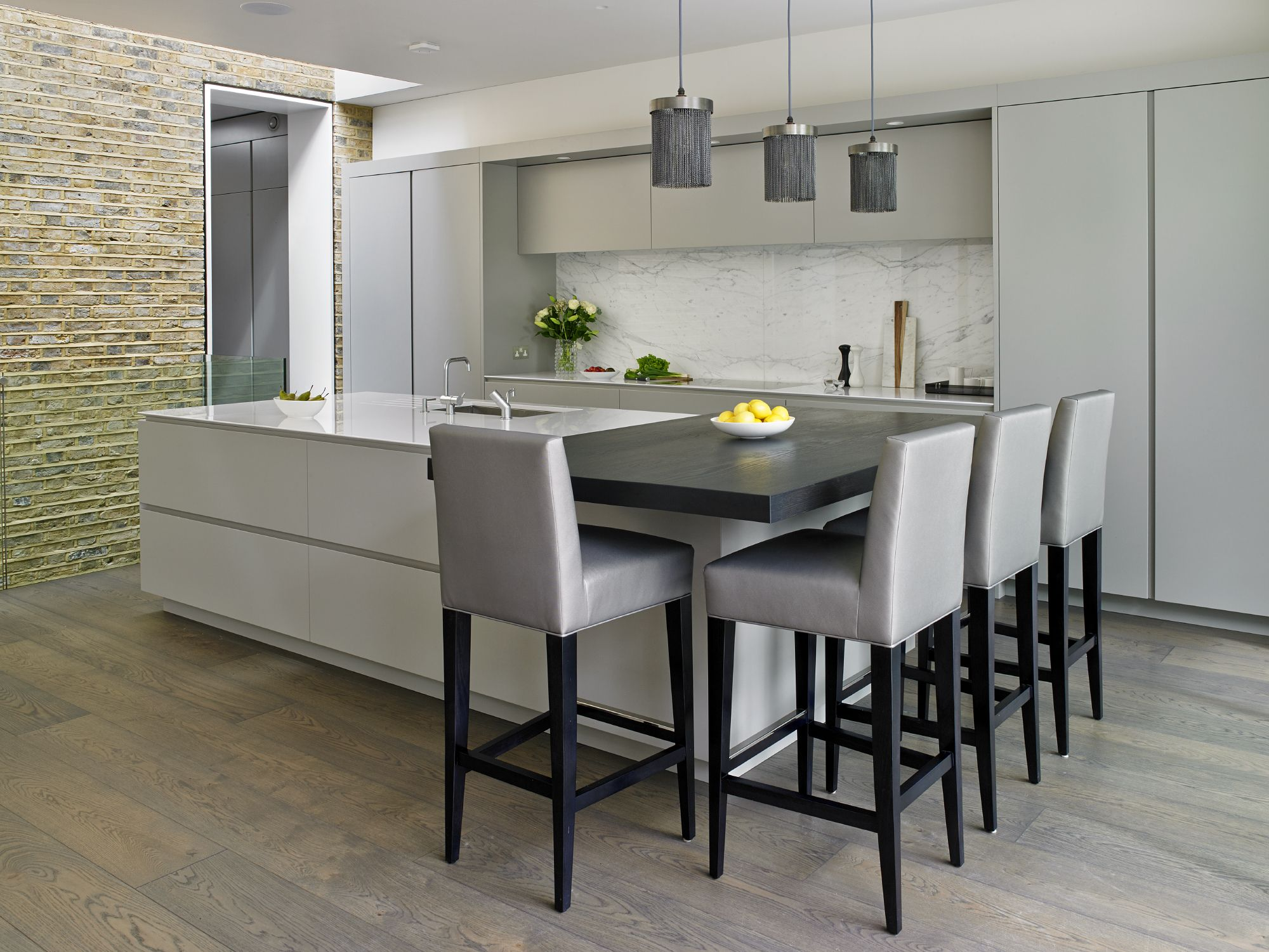 Grey Handleless Kitchen Design By Brayer. Victorian House Renovation With  Secret Cloakroom, Large Island