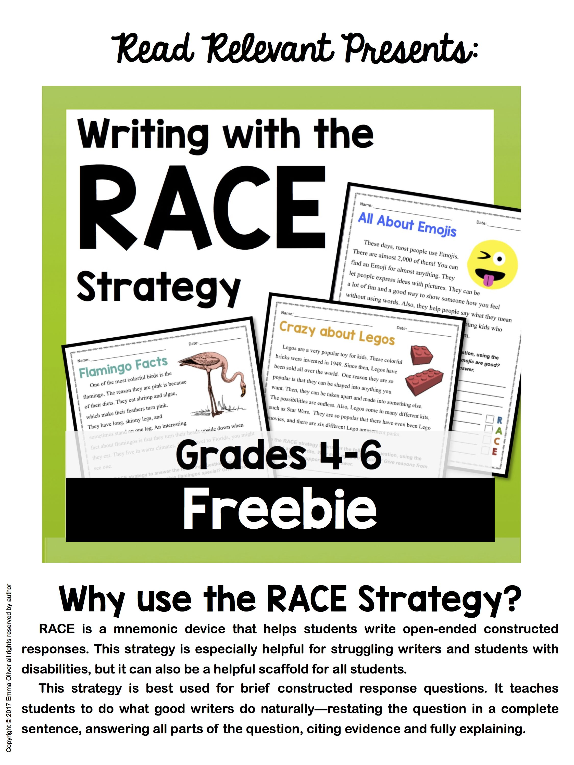 Writing With The Race Strategy Grades 4 6 Freebie