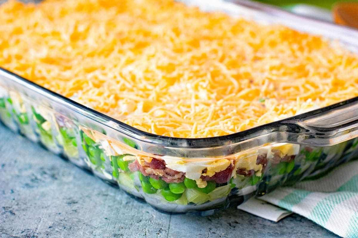 Traditional Seven Layer Salad Perfect Make Ahead Salad Or Side Dish For Holidays And Potlucks This Sev Layered Salad Layered Salad Recipes Seven Layer Salad