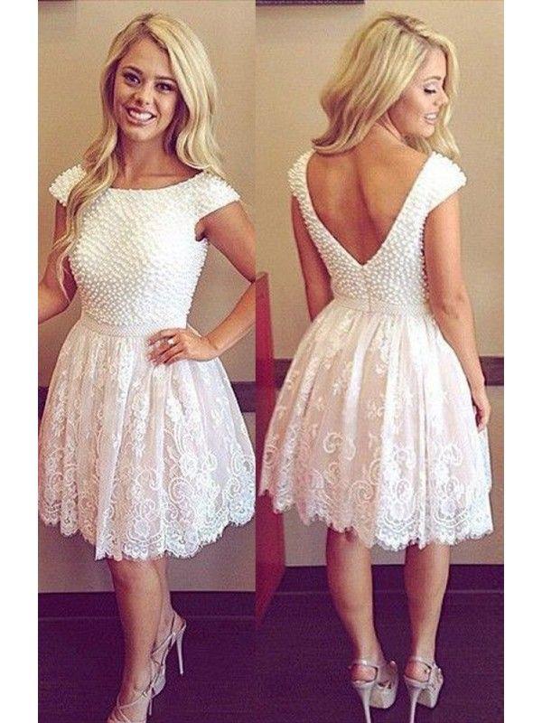 66b0a9ea0f28b V Back Knee Length Ivory Short Homecoming Dress With Lace   Prom Girl Prom    Vestidos, Vestidos de fiesta, Vestidos cortos