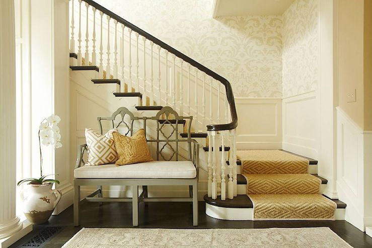 Entry Foyer Wallpaper : Hudson interior designs perfection gorgeous foyer with damask