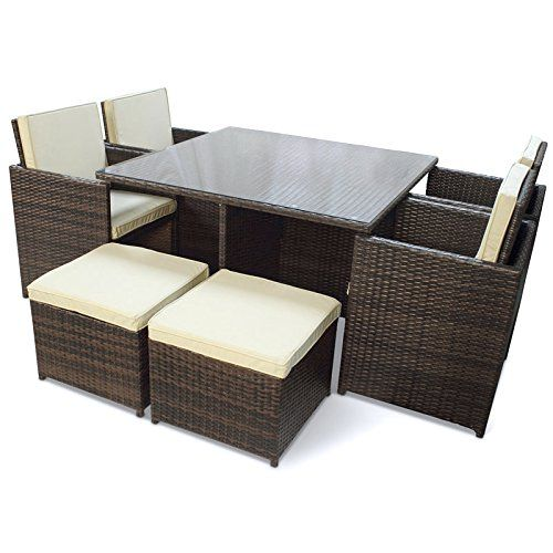 easy life garden cube set brown with table 4 chairs and 4 rh pinterest com