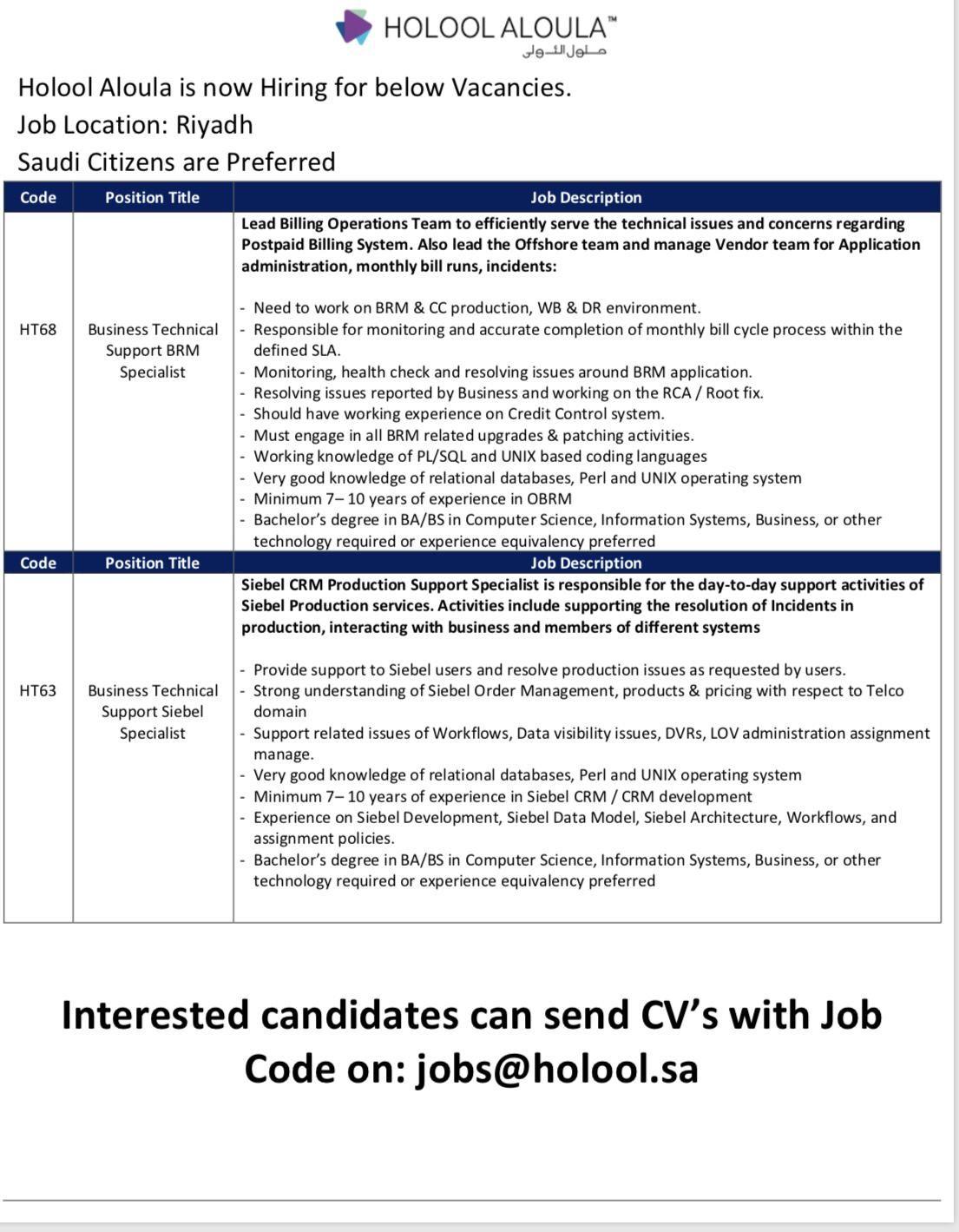 Multiple Job Openings KSA Job opening, Job description