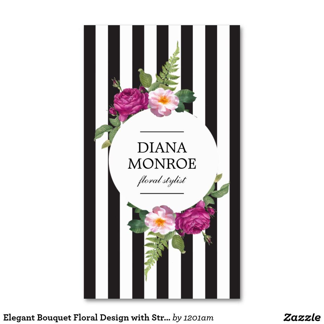 Designer Business Card Template For Florists Flower Shops Floral Designers Event Stylists We Striped Business Card Salon Business Cards White Business Card