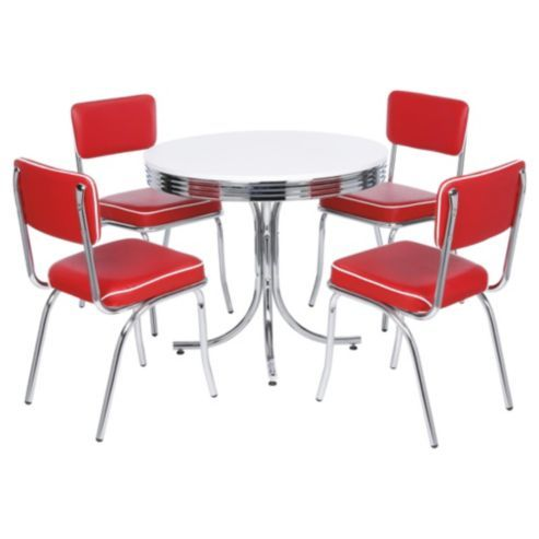 Rydell 4 Seat Set Red  Diner Ideas 50S Diner And Ranges Captivating Dining Room Chairs Red 2018