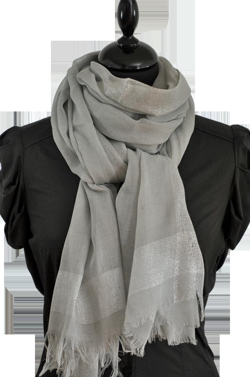 Foulard gris bande argentée   Gris   Foulard gris, Gris et Foulard 04f05c5ad7a