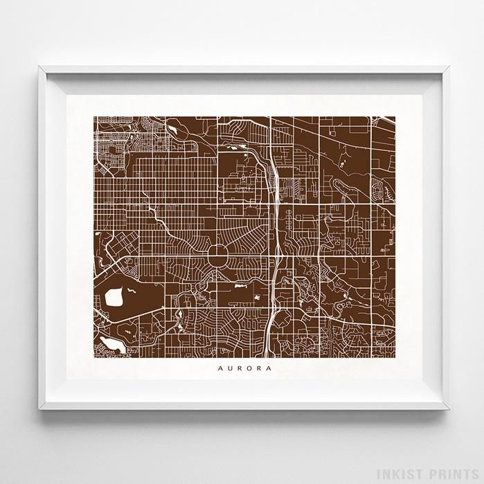 Aurora Colorado Street Map Print Products