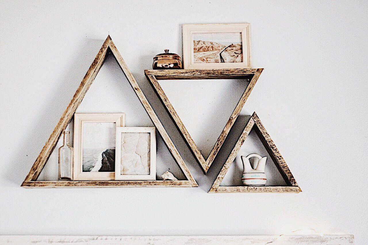 Set of 3 triangle shelves reclaimed wood triangle shelf pallet wood shelf geometric shelf pallet wood art pallet art wall art by fernwehreclaimedwood