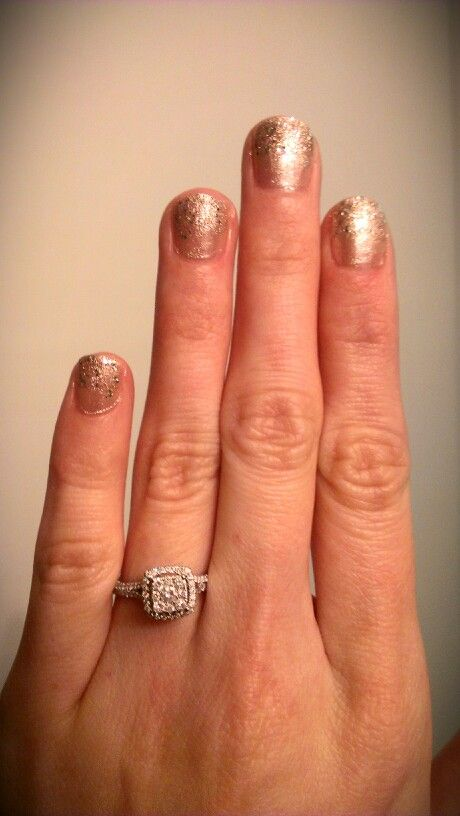 Glitter nails and engagement ring!