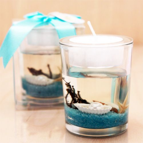 Stunning Beach-Themed Candle Favor | Glass and Crystal ... - photo#2