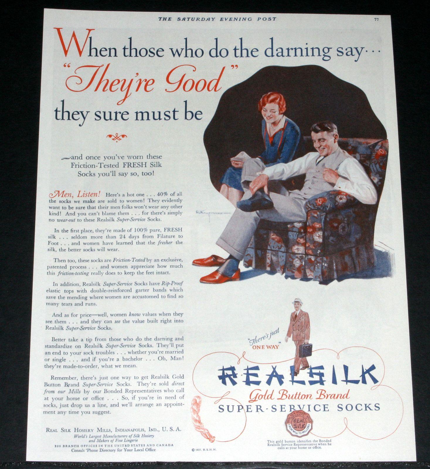 1927 Old Magazine Print Ad Real Silk Super Service Socks Gold Button Brand Art  