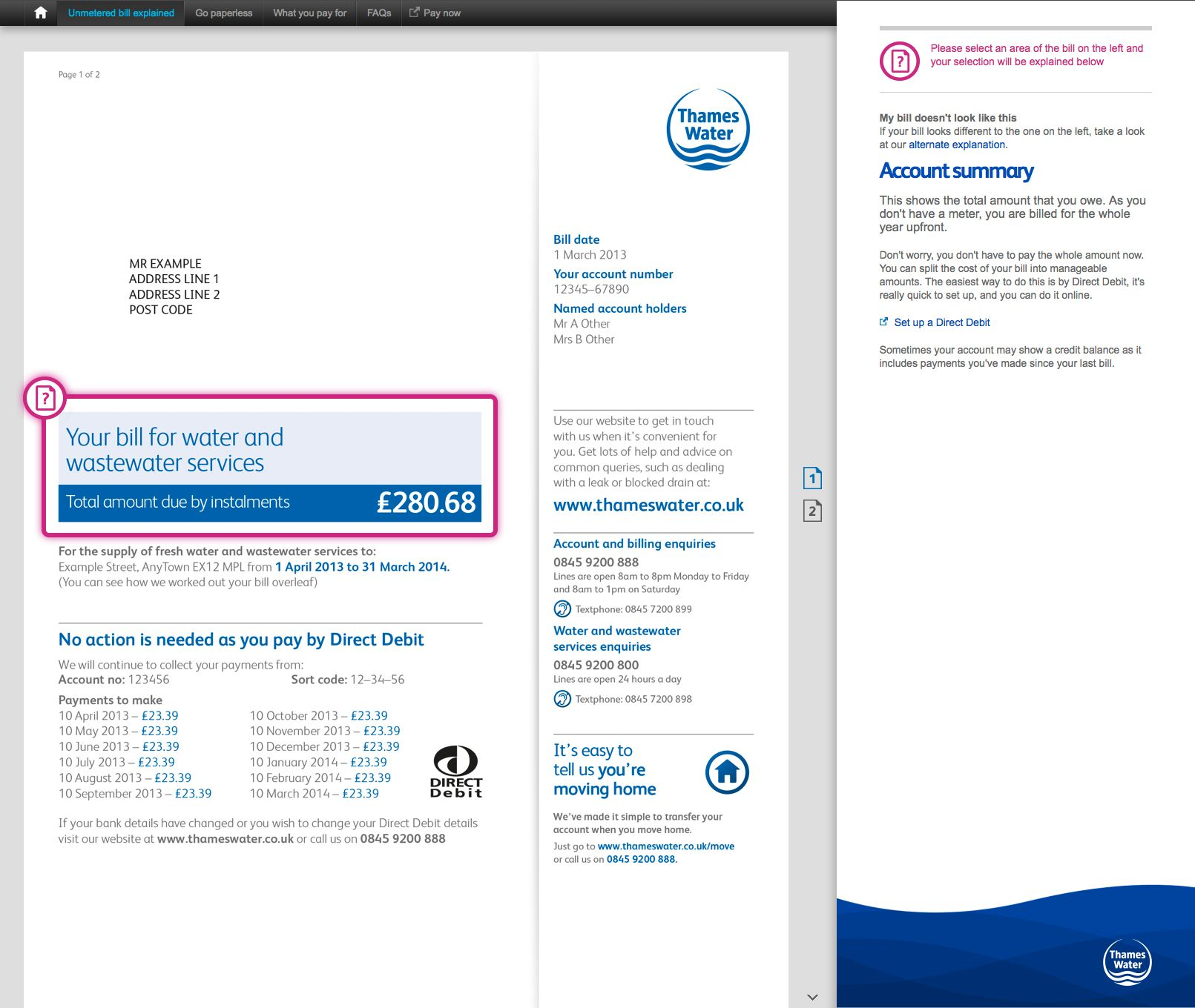 Thames Water online instructions -