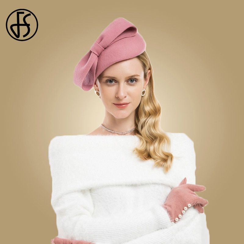 ca36c8ffc Pink Wool Fascinator Winter Elegant Women Pillbox Hat Black Felt Red ...