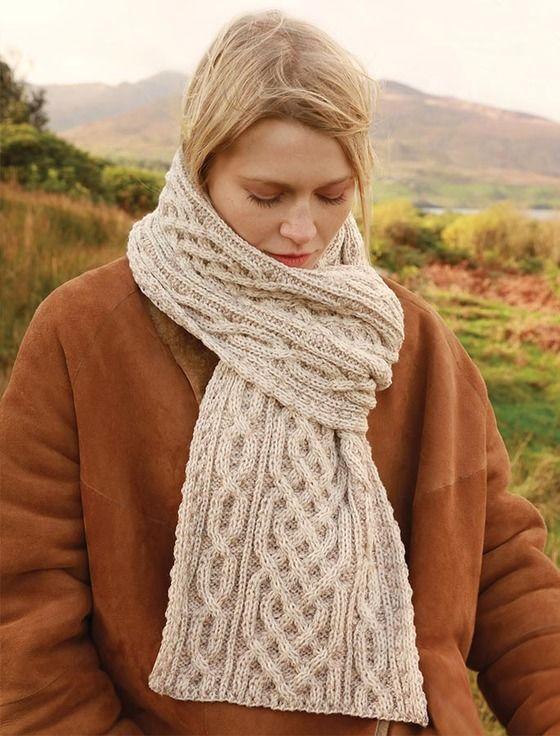 Aran Plated Scarf | Sweater knitting patterns, Irish ...