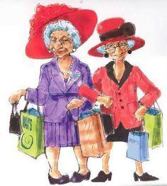 Gal Pals Kreslene Obrazky Senioru Old Women Lady A Cartoon