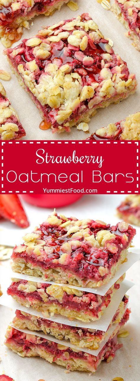 Healthy Breakfast Strawberry Oatmeal Bars is part of Oatmeal bars recipes - Healthy Breakfast Strawberry Oatmeal Bars are delicious, moist and easy breakfast that your family will love! This recipe is just awesome and super healthy! The best way to start your day  Healthy Breakfast Strawberry Oatmeal Bars!