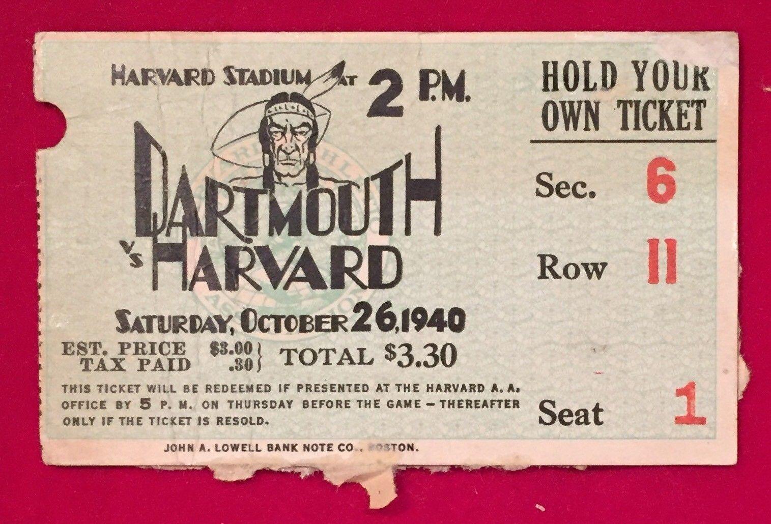 Vintage Vs Antique >> Details About 1940 Harvard Vs Dartmouth Football Game Ticket Stub