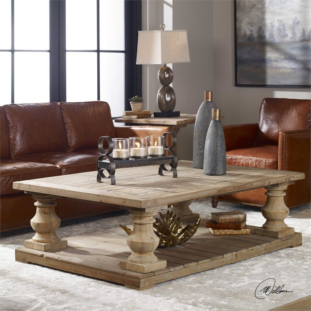 Farmhouse French Country Style Distress Rustic Coffee Table Reclaimed Wood Uttermost Coffee Table Furniture Living Room Coffee Table [ 1000 x 1000 Pixel ]