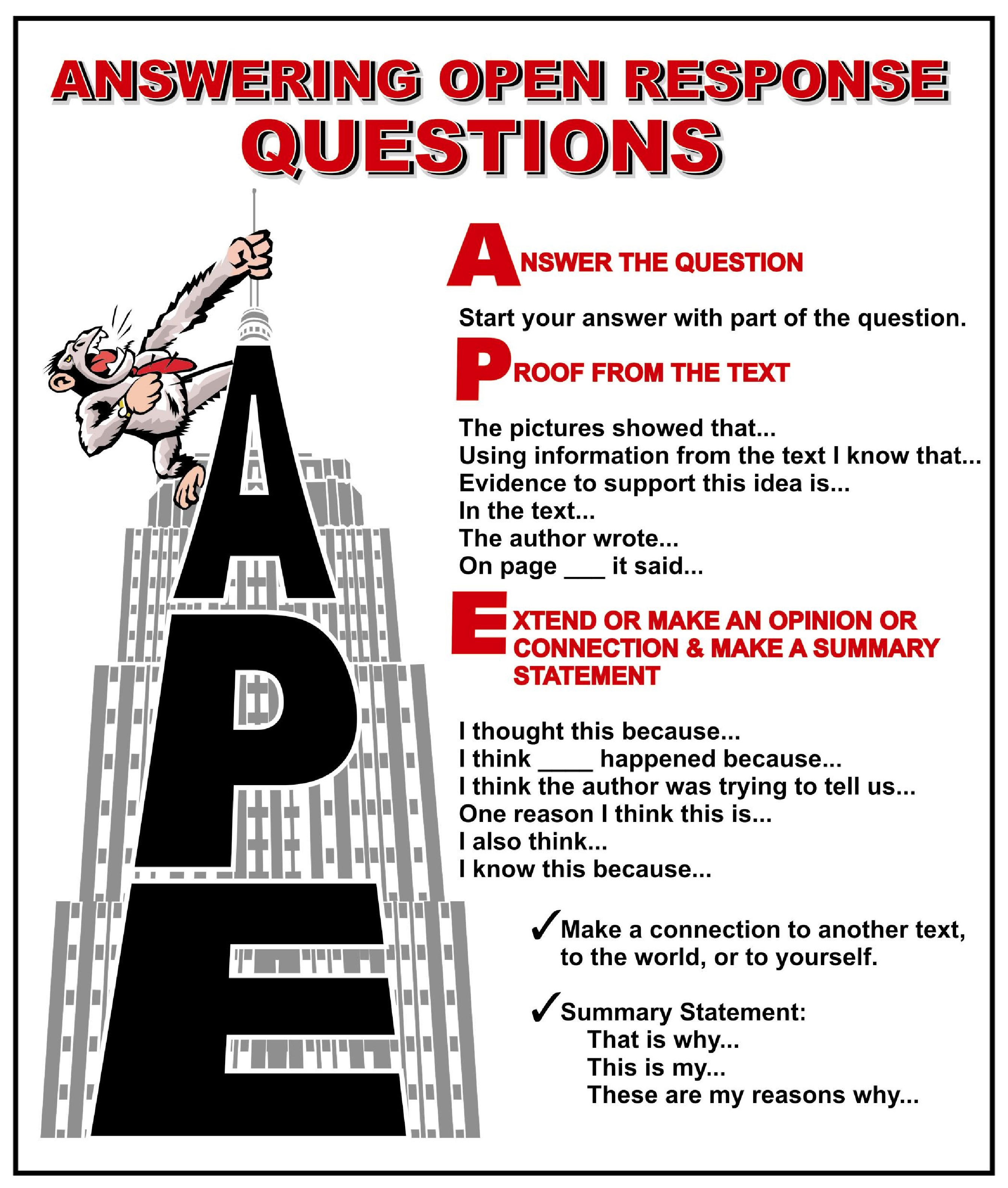 A P E Responding To Open Ended Questions