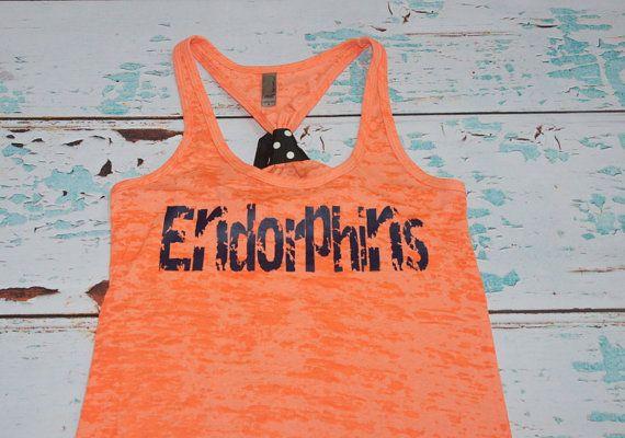 Endorphins. Midnight Navy on neon orange racerback burnout tank top. S-2XL. Exercise Shirt. Gym. Runner. Run. Marathon.