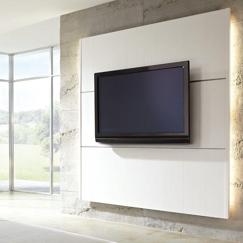 TV Wandpaneel met LED verlichting op betonmuur | Appartement ...
