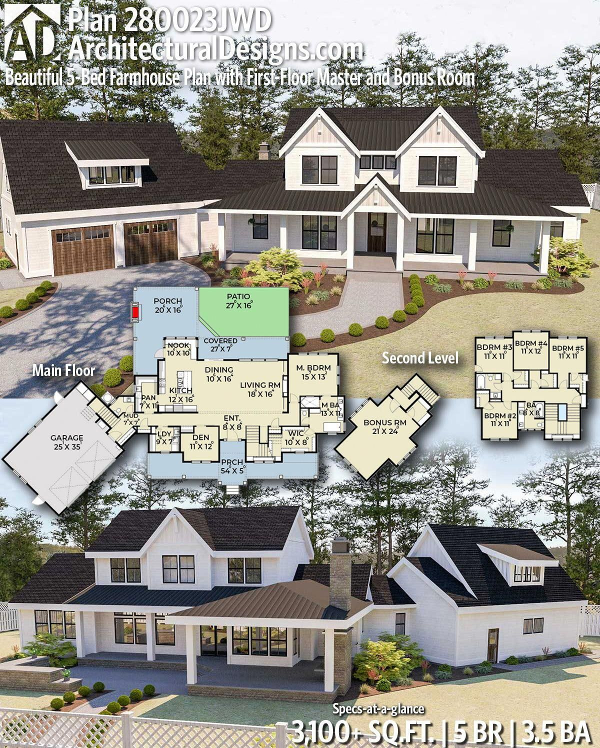 Architectural designs modern farmhouse plan 280023jwd gives you 5 bedrooms 3 5 baths and 3100