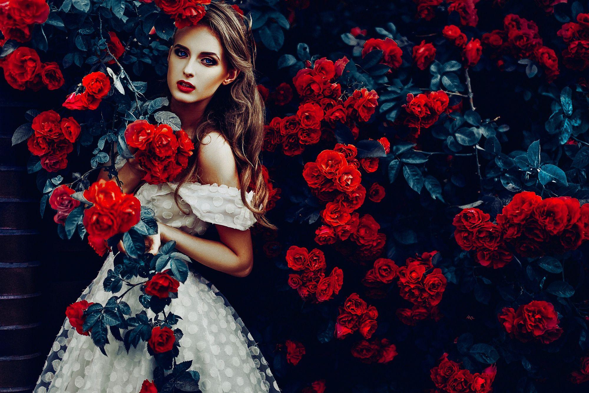 Открытки, девушка и розы картинки