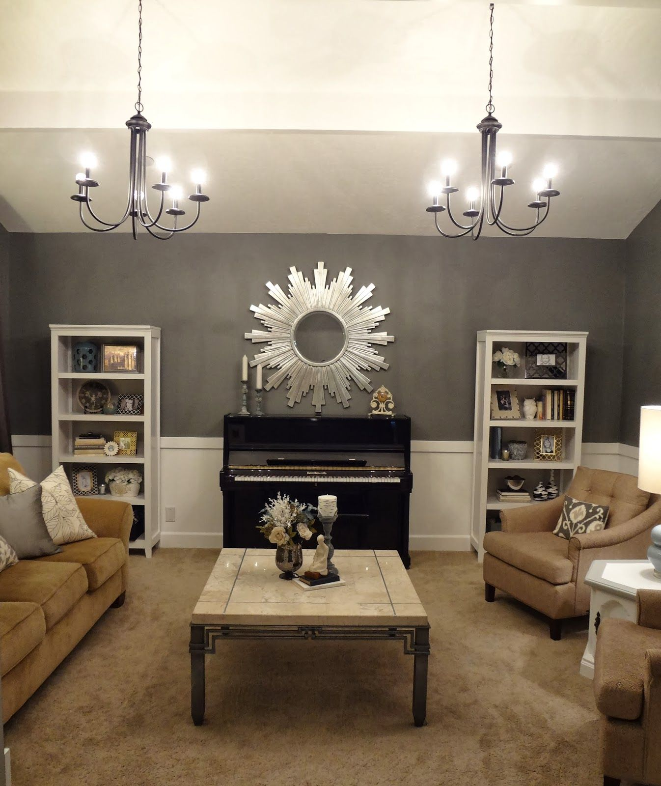 Living Room Design With Upright Piano