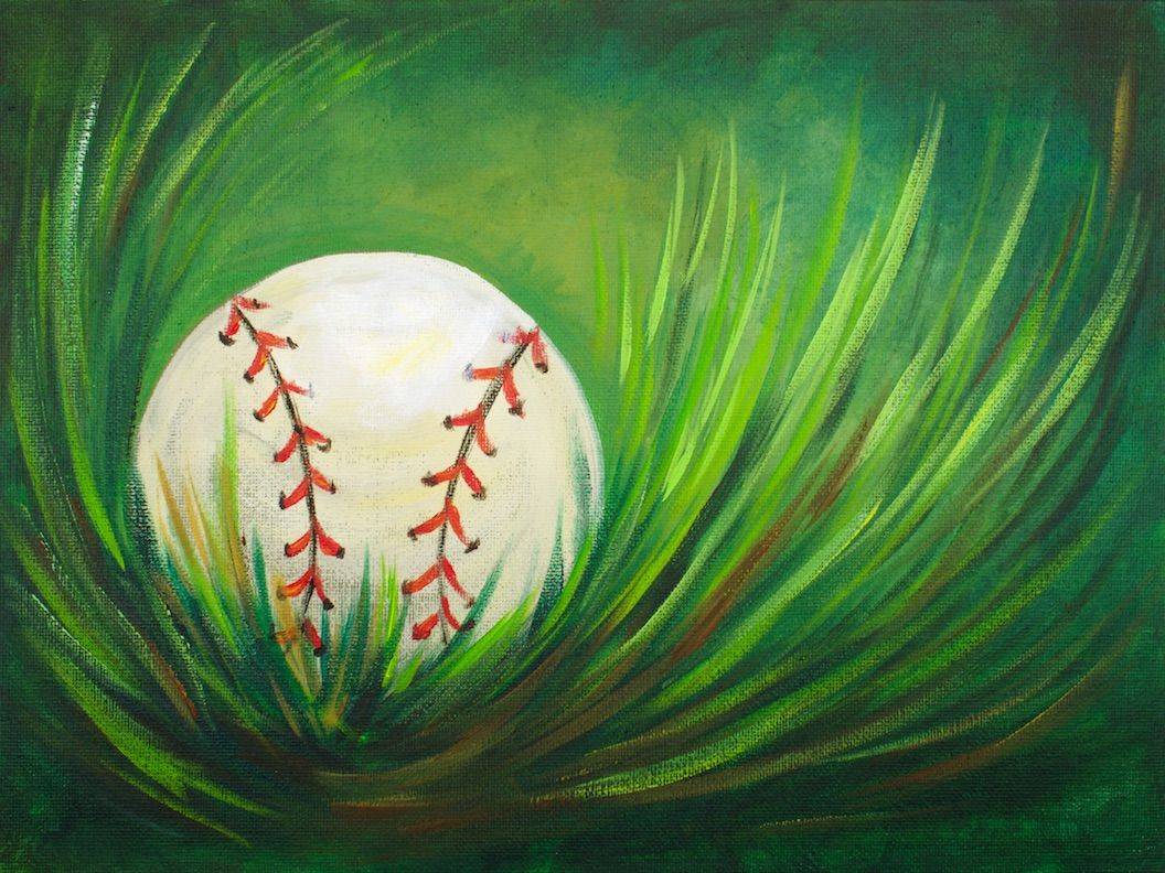 Acrylic Step by Step Painting Baseball in Grass Easy