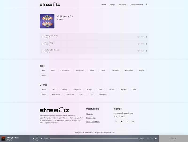 A music streaming website with admin panel Affiliate